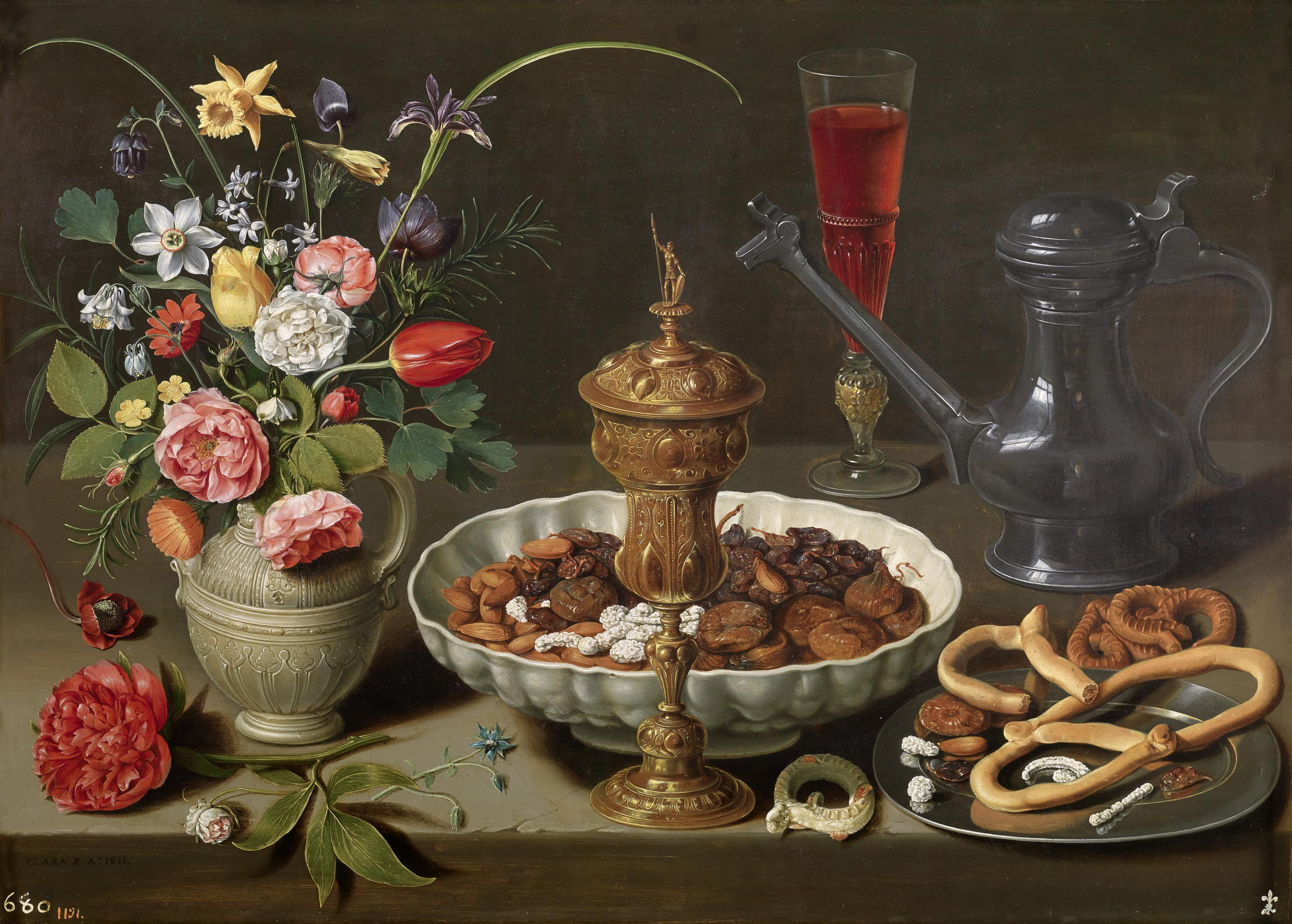 Clara Peeters - Still life with flowers, guilded Cup, Almonds, dried Fruit, Sweets Cookies, Wine and tin Jar - Oil on Pannel - ©Museo Nacional del Prado, Madrid