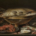 Clara Peeters - Still life with Fishes, Shrimps, Oysters and Crayfishes - Oil on Pannel
