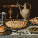Clara Peeters - Table with tablecloth, Saltshaker, guilt Cup, Pastry, Jar, porcelain Dish with Olives and Poultry - Oil on Pannel- ©Museo Nacional del Prado, Madrid