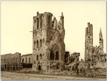 Cloth hall Ypres in ruins