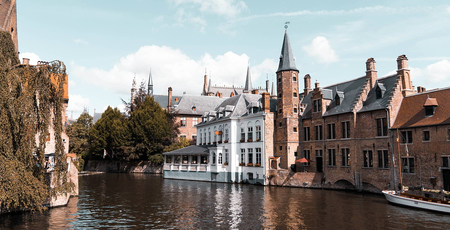 Bruges city centre, view on a canal