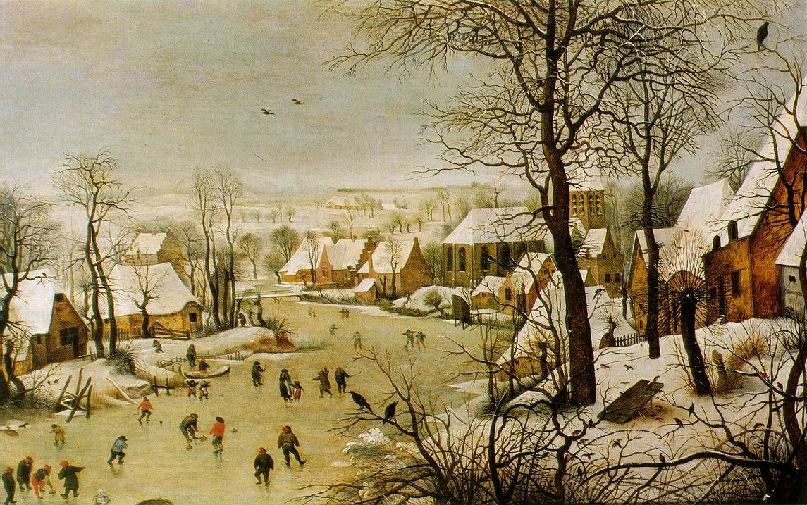 Winter landscape with skaters and bird-traps - © Public Domain
