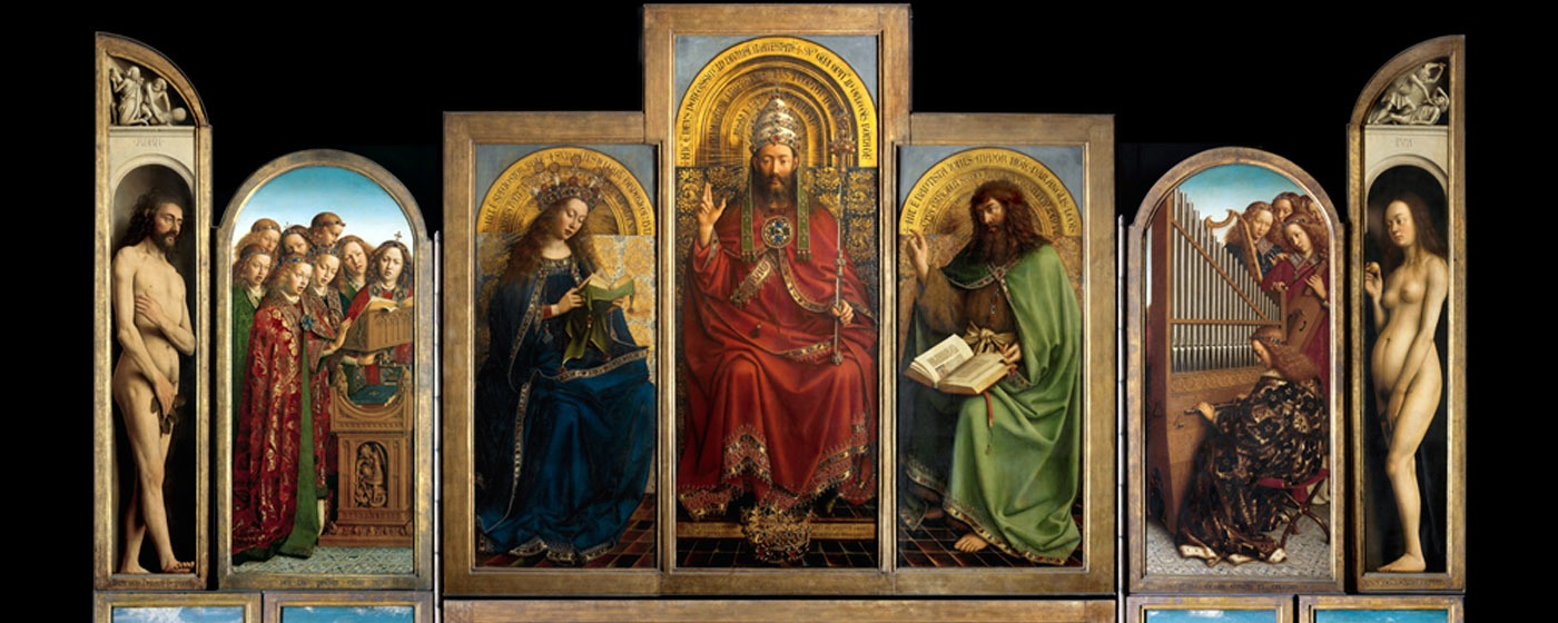 L'adoration de l'Agneau Mystique  - Jan Van Eyck - ©Lucasweb.be, http://www.lukasweb.be/fr/photo/retable-de-l-agneau-mystique-ouvert-150