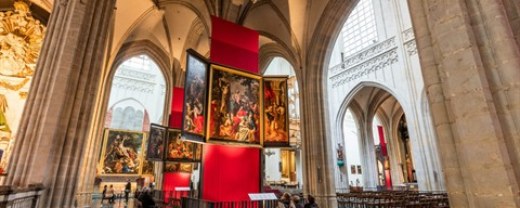 Interior with paintings of the Cathedral of Our Lady - Antwerp
