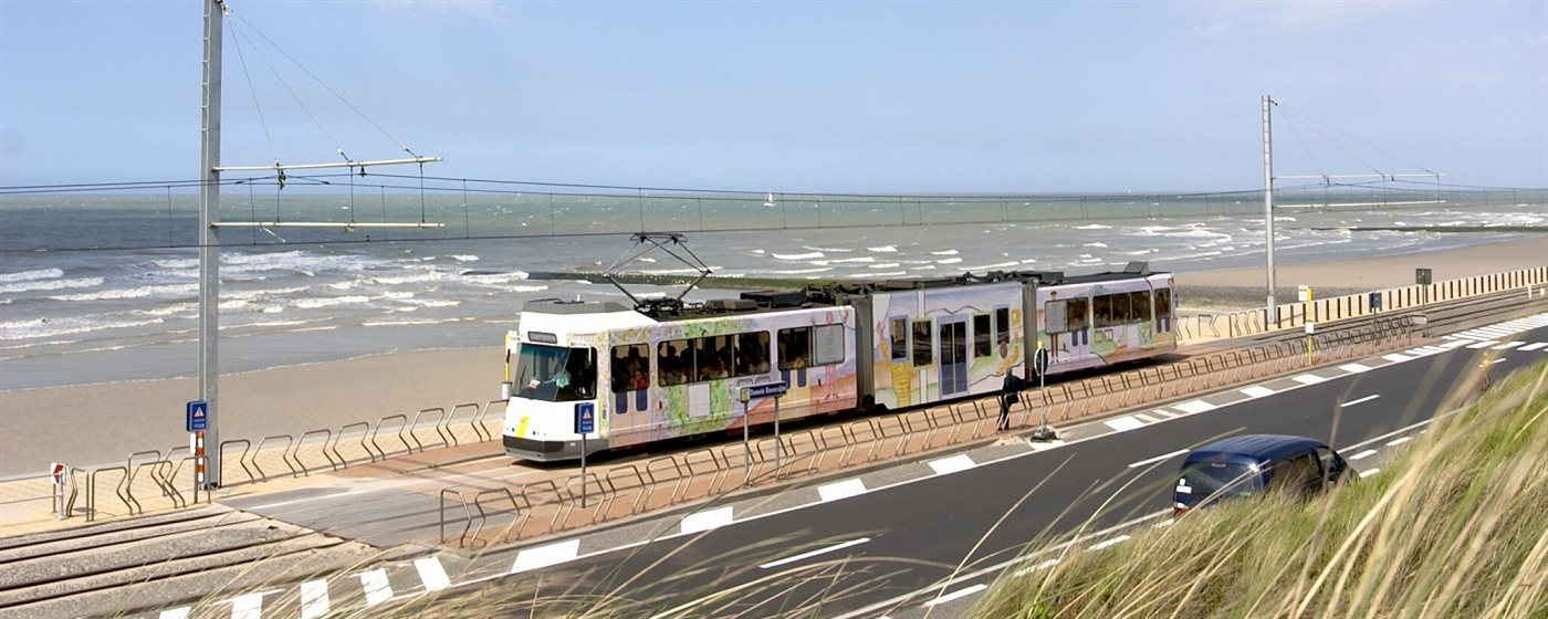 Coastal public transport tram De Lijn at beachside Raversijde