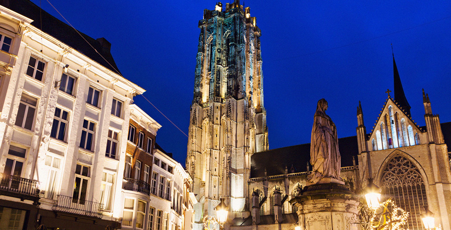Saint Rumbold's Tower and Cathedral by night in Mechelen