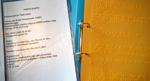 menukaart in braille