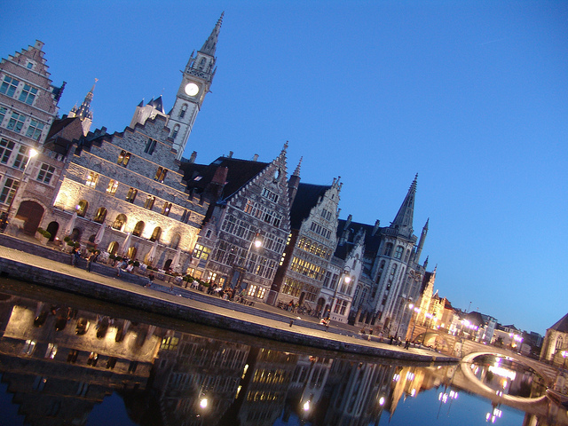 Evening view on Graslei, Ghent - ©DdeKievith