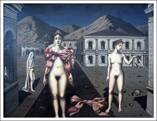 Paul Delvaux - De Roze Strikken (1937) - Photo Martin Beek - © https://creativecommons.org/licenses/by-nc-sa/2.0/