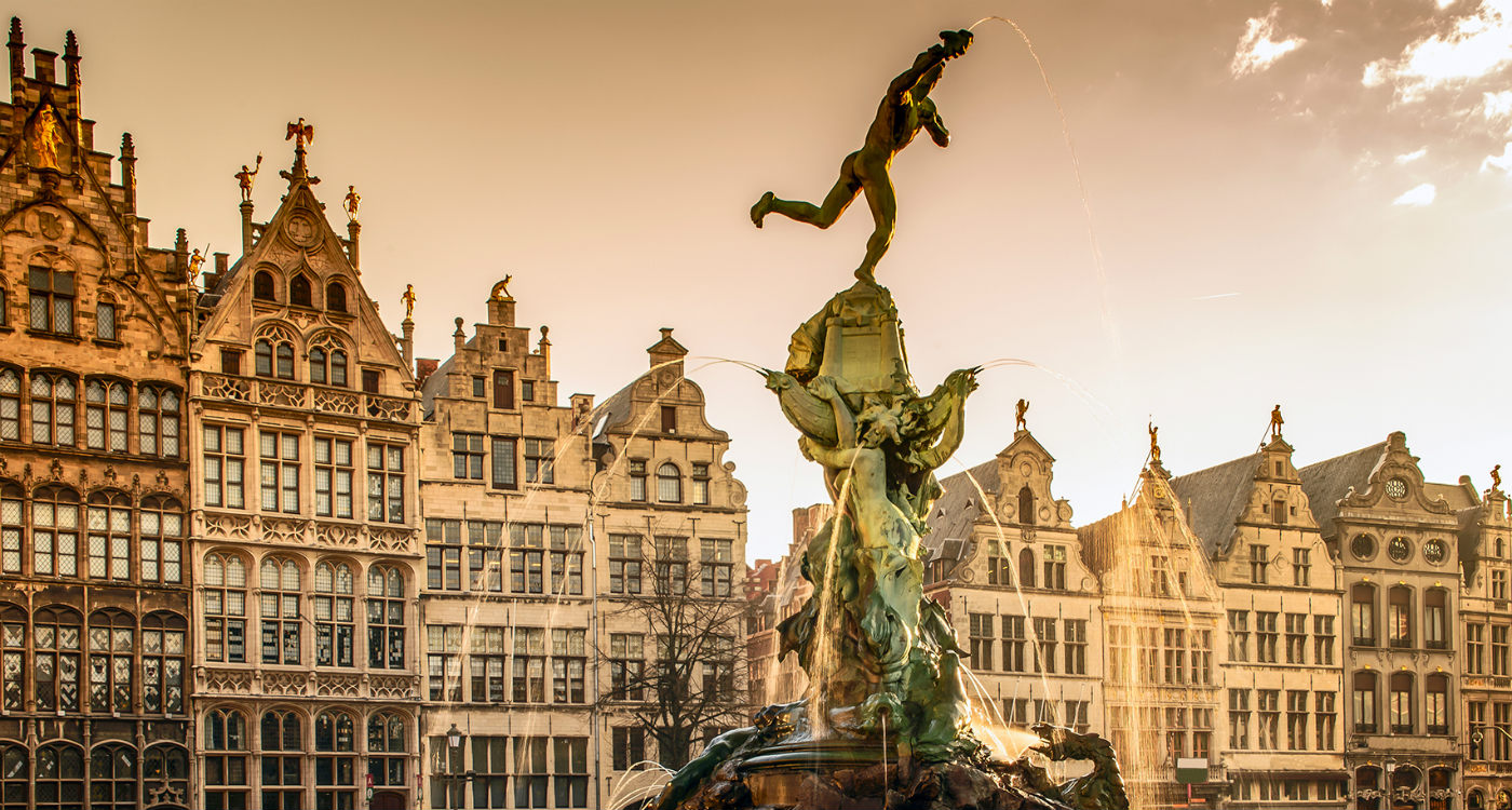 Brabo Fountain on the Market Square in Antwerp